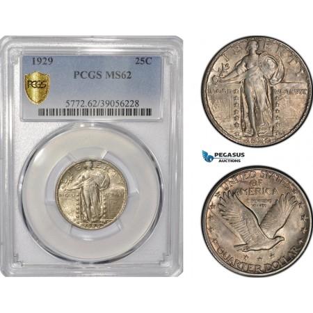 AF213, United States, Standing Liberty Quarter (25c) 1929, Philadelphia, Silver, PCGS MS62
