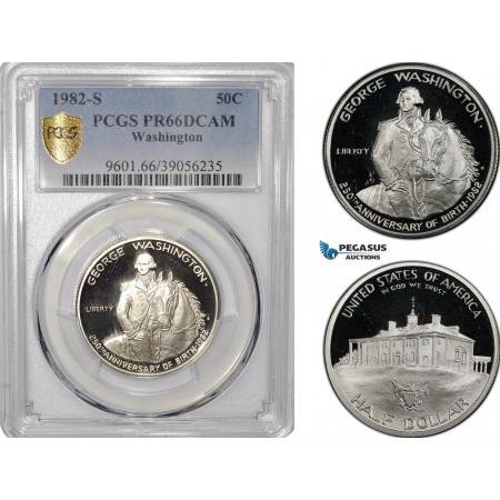 "AF219, United States, ""Washington"" Half Dollar (50c) 1982-S, San Francisco, Silver, PCGS PR66DCAM"