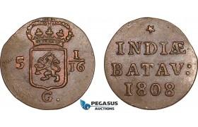 AF234, Netherlands East Indies, Batavian Rep., 1 Duit 1808, Some luster, AU