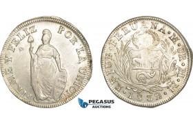 AF240, Peru, 8 Reales 1832 MM, Lima, Silver, Lustrous AU (Lightly cleaned)