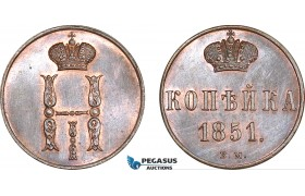 AF245, Russia, Nicholas I, 1 Kopek 1851 BM, Warsaw, Cleaned UNC