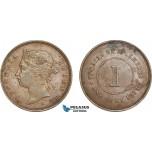 AF255, Straits Settlements, Victoria, 1 Cent 1872-H, Heaton, XF-AU, Spots
