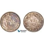 AF257, Switzerland, 1/2 Franc 1879-B, Bern, Silver, Toned AU