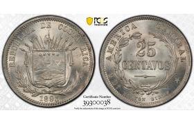 AF263, Costa Rica, 25 Centavos 1893 Heaton Birmm. Silver, PCGS MS66+, Pop 1/0