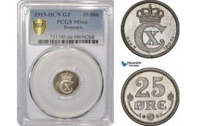 AF264-R, Denmark, Christian X, 25 Øre 1919, Copenhagen, Silver, PCGS MS66