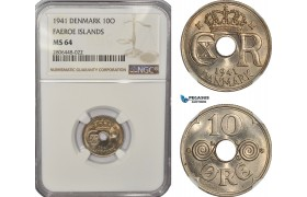 AF269-R, Faeroe Islands (Denmark) Christian X, 10 Øre 1941, Copenhagen, NGC MS64