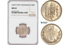 AF285, Mongolia, 20 Mongo AH27 (1937) NGC MS63