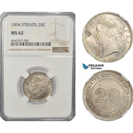 AF290, Straits Settlements, Victoria, 20 Cents 1894, Silver, NGC MS62
