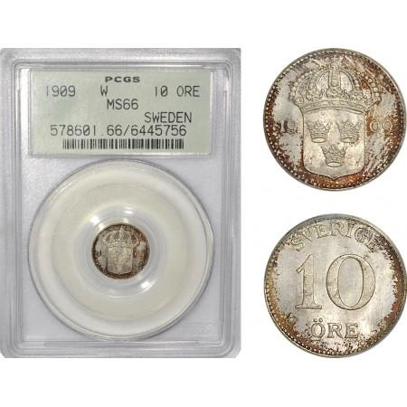 AF291, Sweden, Gustaf V, 10 Öre 1909, Stockholm, Silver, PCGS MS66