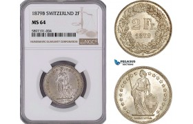 AF295, Switzerland, 2 Francs 1879-B, Bern, Silver, NGC MS64, Top Pop, Very Rare!