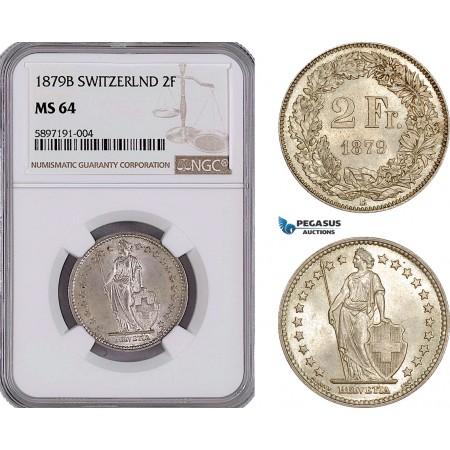 AF295, Switzerland, 2 Francs 1879-B, Bern, Silver, NGC MS64, Top Pop, Very Rare!