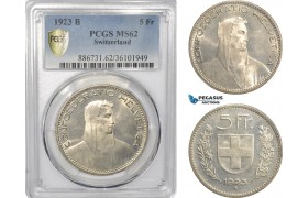 AF296, Switzerland, 5 Francs 1923-B, Bern, Silver, PCGS MS62