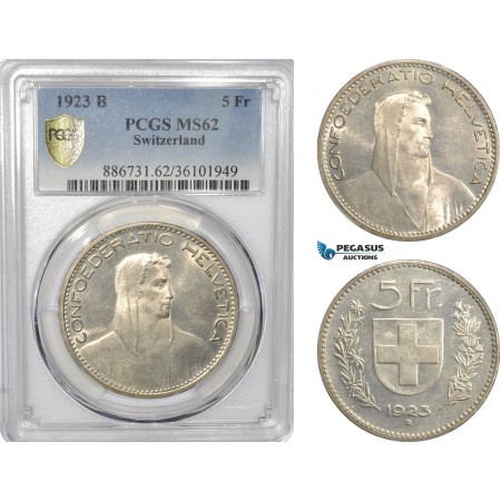 AF296, Switzerland, 5 Francs 1923-B, Bern, Silver, PCGS MS62