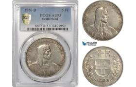 AF297, Switzerland, 5 Francs 1926-B, Bern, Silver, PCGS AU53