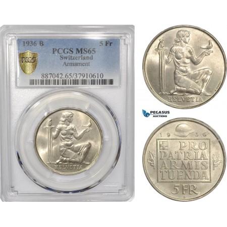 "AF298, Switzerland, 5 Francs 1936-B, Bern, Silver, ""Armament"" PCGS MS65"
