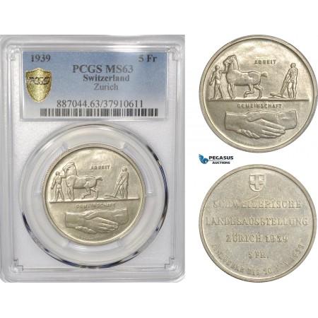 "AF299, Switzerland, 5 Francs 1939, Silver, ""Zürich"" PCGS MS63"