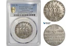 "AF300, Switzerland, 5 Francs 1941-B, Bern, Silver, ""Swiss Conf."" PCGS UNC Det."