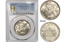 "AF301, Switzerland, 5 Francs 1944-B, Bern, Silver, ""St. Jakob"" PCGS MS65"