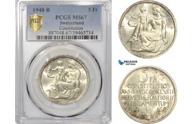 "AF302, Switzerland, 5 Francs 1948-B, Bern, Silver, ""Constitution"" PCGS MS67"
