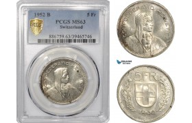AF303, Switzerland, 5 Francs 1952-B, Bern, Silver, PCGS MS63