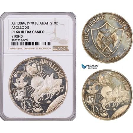 AF304-R, United Arab Emirates, Fujairah, 10 Riyals AH1389 / 1970, Silver, Apollo XII, NGC PF64UC