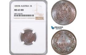AF305, Austria, Franz Joseph, 1 Kreuzer 1859-B, Kremnitz, NGC MS63RB, Pop 3/1