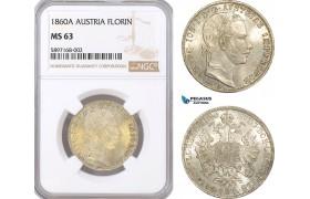 AF306, Austria, Franz Joseph, Florin (Gulden) 1860-A, Vienna, Silver, NGC MS63