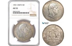 AF311, Crete, George I. of Greece, 5 Drachmai 1901, Paris, Silver, NGC AU55, Rare!