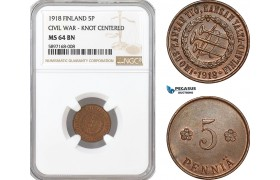 "AF315, Finland, Civil War, 5 Penniä 1918 ""Knot Centered"" NGC MS64BN"