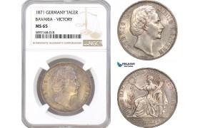 "AF325, Germany, Bavaria, Ludwig II, Taler 1871, Silver, ""Victory"" NGC MS65"