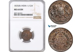 AF328, India, East India Company, 1/12 Anna 1835 (B) Bombay, NGC MS64BN