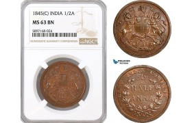 AF329, India (British) 1/2 Anna 1845 (C) Calcutta, NGC MS63BN, Rare!