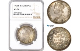 AF330, India (British) Victoria, 1 Rupee 1901 (B) Bombay, Silver, NGC MS64