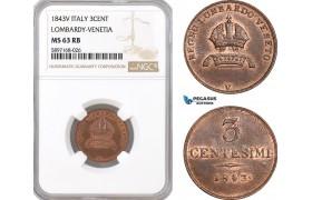 AF331, Italy, Lombardy-Venetia, 3 Centesimi 1843-V, Venice, NGC MS63RB, Pop 1/0
