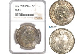 AF334, Japan, Meiji, Yen Yr. 45 (1912) Silver, NGC MS64