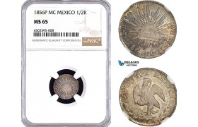 AF335, Mexico, 1/2 Real 1856 P MC, Potosi, Silver, NGC MS65