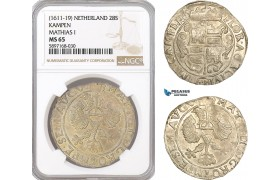 AF336, Netherlands, Kampen, Mathias I, 28 Stuiver ND (1611-19) Silver, NGC MS65, Pop 1/0