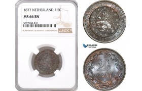 AF338, Netherlands, Willem III, 2 1/2 Cents 1877, NGC MS66BN