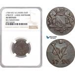 AF341, Netherlands East Indies, VOC, Duit 1790 (Utrecht Arms) Large Mintmark, NGC AU Det.