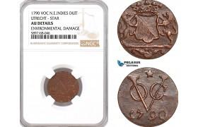 AF342, Netherlands East Indies, VOC, Duit 1790 (Utrecht Arms) Star, NGC AU Det.