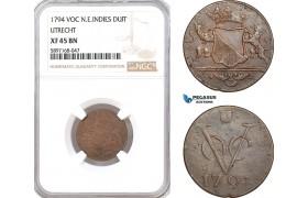 AF343, Netherlands East Indies, VOC, Duit 1794 (Utrecht Arms), NGC XF45BN
