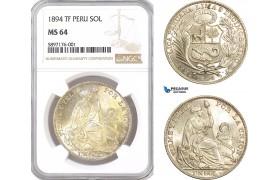 AF344, Peru, Sol 1894 TF, Lima, Silver, NGC MS64