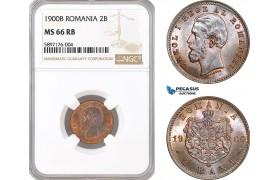 AF346, Romania, Carol I, 2 Bani 1900-B, Bucharest, NGC MS66RB