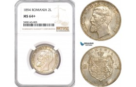 AF347, Romania, Carol I, 2 Lei 1894, Brussels, Silver, NGC MS64+, Pop 1/1, Rare!