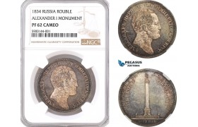 AF349, Russia, Nicholas I, Rouble 1834, St. Petersburg, Silver, Alexander I Monument, NGC PF62 Cameo, Rare!