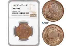 AF355, Straits Settlements, Edward VII, 1 Cent 1903, NGC MS63RB