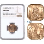 AF356, Straits Settlements, George V, 1/2 Cent 1932, NGC MS66RB