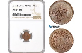 AF359, Ottoman Empire, Turkey, Abdul Mejid, 1 Para 1255/16, NGC MS64BN, Pop 3/0