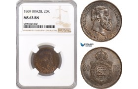 AF366, Brazil, Pedro II, 20 Reis 1869, NGC MS63BN
