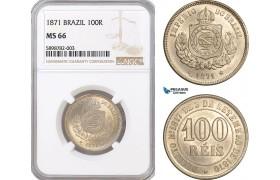 AF367, Brazil, Pedro II, 100 Reis 1871, NGC MS66, Top Pop!